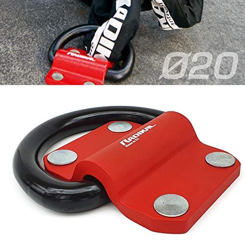 RADIKAL RK60 Anclaje Suelo o Pared Garage Moto, Caravana, Remolque, Anilla de 20 mm, 100% Acero. Máxima Seguridad