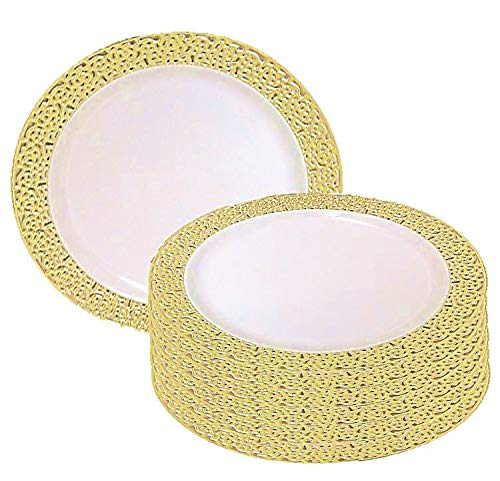 "Christmas 10 Inch Plastic Plates Trimmed With Gold Lace. Pack Of 40 Elegant Disposable China Like Dinnerware. 10"" Ivory and Gold Lace Dinner Plates."