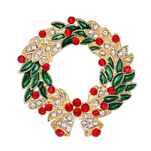 YZ-YUAN Garland Shape Christmas Breastpin Diseo de Corona navidea Broches Aleacin Rhinestone Pines de Solapa Accesorio Broche Disfraz Vestir Accesorios Decoracin