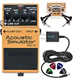 BOSS AC-3 Acoustic Simulator Pedal for Electric Guitars Bundle with Blucoil Slim 9V Power Supply AC Adapter, 2-Pack of Pedal Patch Cables, and 4-Pack of Celluloid Guitar Picks