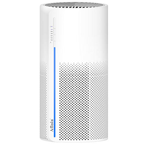 Afloia Purificatore d'aria con filtro True HEPA a 4 strati e funzione di luce notturna, elimina odori, pollini, allergeni