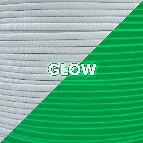 Paracord Planet's White Para-Glow Paracord - Glows in the Dark - Type III Cord - Available in 10, 25, 50, and 100 ft hanks