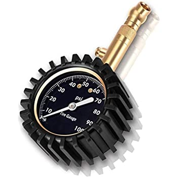 Jsdoin Heavy Duty Tire Pressure Gauge (0-100 PSI)- Certified ANSI Accurate with Large 2 Easy Read Glow Dial and Solid Brass Material