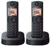 Panasonic TGC312SPB- Teléfono Fijo Inalámbrico Dúo, LCD, Identificador de Llamadas, 16H Uso Continuo, Localizador, Agenda De 50 números, Bloqueo Llamada, Modo ECO, Reducción Ruido, color Negro