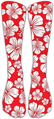Shanghaiqianyushi kerstsokken met bloemenpatroon, klassiek, gepersonaliseerd sokken, sport, atletische stokjes, 40 cm, polyester, kalf sokken voor mannen en vrouwen