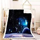 DZZQQ Manta de Franela 150x200cm Manta para Cama 90, Lavable Manta Suave Ligera Estampado Vía Láctea de 3D Mantas de Sofa...