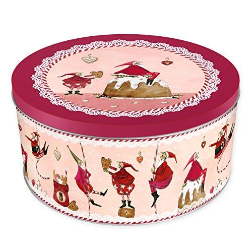 Grätz Verlag - Contenitore per biscotti, in latta, forma rotonda, colore: rosso Altezza di circa 10,5 cm. Wichtel An Schnüren