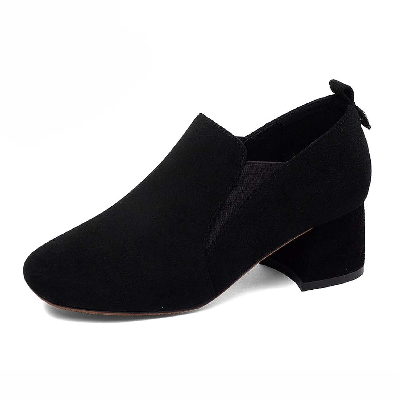 HWF レディースシューズ レディースシューズ秋中踵シューズスクエアトゥスリップオンファッション女性靴 (色 : 黒, サイズ さいず : 38)
