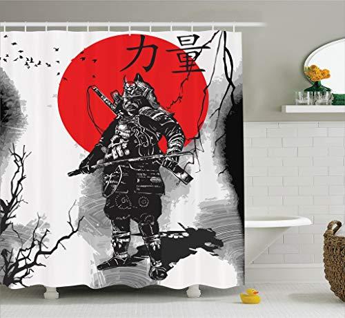 ABAKUHAUS Japonés Cortina de Baño, Retrato de Antiguo Caballero Educado Aristocrático con Arma Hombre de Guerra Imagen, Material Resistente al Agua Durable Estampa Digital, 175 x 200 cm, Black