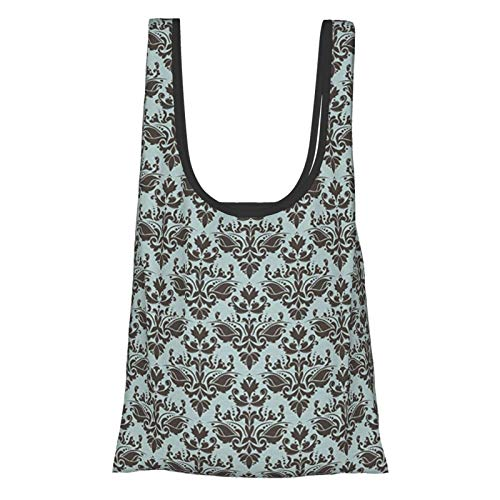 J-shop Damask Decor Damask Shapes Motif Western Modular Leaves And Rayon Curving Lines Creative Floral Design Teal Brown Reusable Grocery Bags, Eco-Friendly Shopping Bag