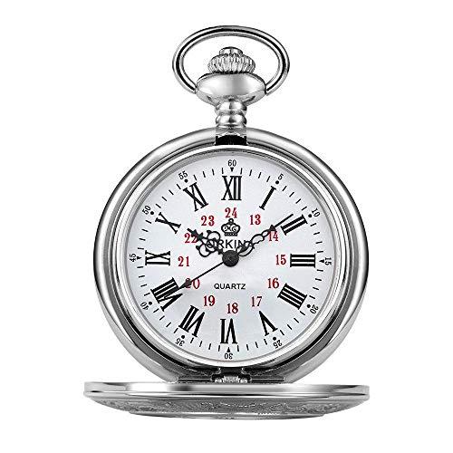 Reloj de Bolsillo Flap Silver Mechanical Pocket Watch Romano Tallado Hueco clásico Reloj mecánico Bolsillo y Relojes Fob,Punk (Color : Silver)