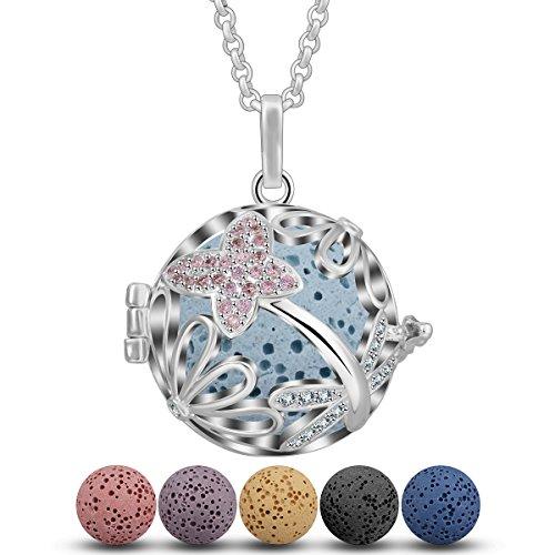 INFUSEU etherische olie Diffuser ketting Aromatherapie parfum hanger, opengewerkte bloem madeliefje Locket sieraden met 5 stuks Lava stenen + ketting 24