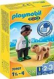 PLAYMOBIL 1.2.3 70407 Veterinario con Perro, De 1,5 a 4 años