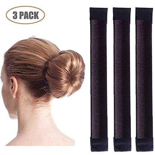 Aisonbo Magic Hair Bun Maker 3 PACK French Twist Donut Maker Easy Perfect Bun for Women Girls, DIY Hair Bun Making Hair Styling For Ballet, Wedding, Yoga, Dancing, Party (Dark Brown)