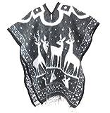Ethnic Identity Authentic Mexican Poncho Reversible Cobija Blanket Deer Design (Charcoal)