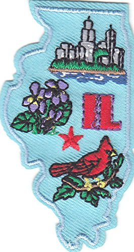 'IL' - ILLINOIS STATE SHAPE - Iron On Embroidered Applique Patch/Midwest