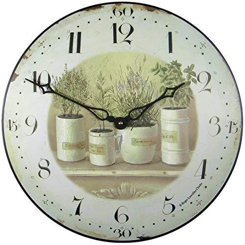 Herb Pots Wall Clock - 36cm