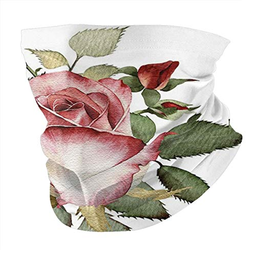 Q&SZ Sweatshirt Outdoor Headband Flower Decor Shabby Chic Romantic Decor with A Big Roses and Leaves Buds Hand Color Image Pink and Red Scarf Neck Gaiter Face Bandana Scarf Head Scarf