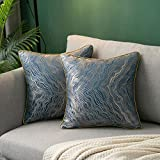 Hanrunsi Juego de 2 fundas de cojín decorativas de 45 cm x 45 cm, para sofá, sofá, dormitorio, coche, color azul