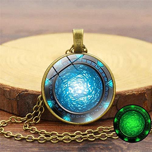 LBZDR Halskette Stargate Leuchtende Zeit-Edelstein-Halskette Glowing Long Sweater Chain, B