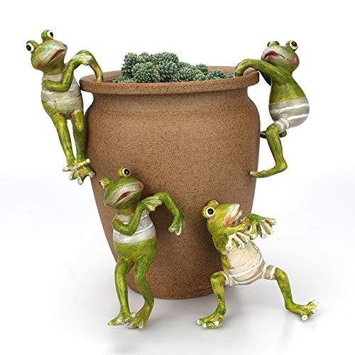 YHNJI Juego de 4 macetas para decoración de ranas, diseño de rana trepadora de resina, para macetas de flores, decoraciones 3D para jardinería y paisajes