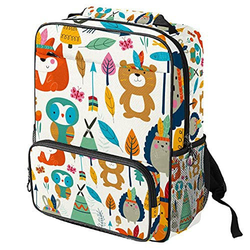 Casual Daypack Laptop Backpack, Fashion Work Bag with Vintage Retro Forest Animal Fox Owl Arrow Printing for Women/Girls/Men