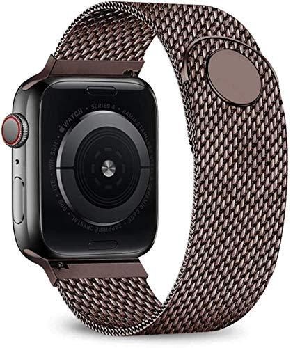 Correa de bucle milanesa para Apple Watch Pulsera de acero inoxidable Correa para iWatch Series SE / 6/5/4/3-marrón, 38 mm o 40 mm