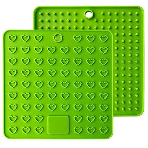 Baomasir 2 stuks silicone isolatiematten plaats voor levensmiddelen Honeycomb pannenlap antislip hittebestendige placemats voor Pot Pan Bowl Cup groen