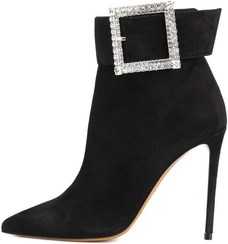 kvinnor kvinnor kvinnor Ladies hög klack Stiletto Ankle stövlar Zip Point Toe Rhinestone Party Evening Dress skor Storlek 35 -46  till grossist