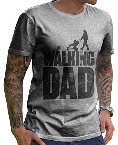 Stylotex Lustiges Herren Männer T-Shirt Basic   The Walking Dad   Geschenk für werdende Papas, Größe:L, Farbe:Heather