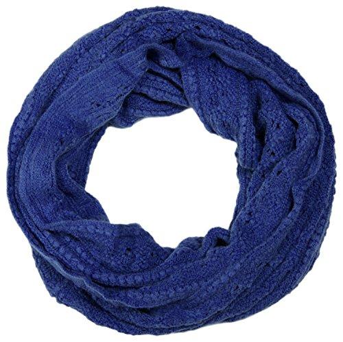 styleBREAKER Strick Loop Schlauchschal mit Lochmuster, Rauten und Querripp 01018104, Farbe:Blau
