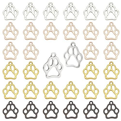 PandaHall 200 colgantes de 4 colores con diseño de huellas de animales de aleación de gato y...