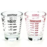 Shot Glasses Measuring cup Liquid Heavy Glass Wine Glass Espresso Shot Glass 26-Incremental Measurement 1oz, 6 Tsp, 2 Tbs, 30ml (2 pack-black and red)