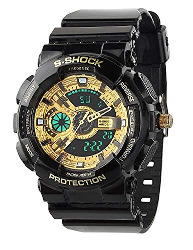 Target S Shock Dual Time Analogue-Digital Watch For Men & Boys   Green Light   Black-Golden Shining Strap Watch with Night Light for Boys & Girls   Unisex Watch