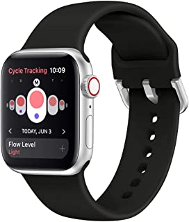 OriBear Compatible with Apple Watch 4 Band 38mm 40mm 42mm 44mm, Women Men Silicone Replacement Sport Watch Band Metal Clasp, Compatible with iWatch Series 5,4, 3, 2, 1, iPhone Watch Strap