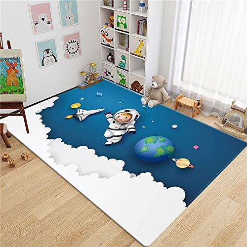 HMOS Tappeto Cartoon Rocket Astronaut 3D Tappeto Bambini Camera Bambini Spazio Spazio Bannella Spagna Pavimento Mat Teenager Room Tappeto Simpatico Guardling Play Mat Comodino Tappeto 1.