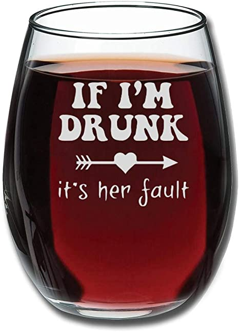 15oz Clear Stemless Wine Glass with Gift Box Gift for Mom I Can Wine All I Want I/'m A Mom