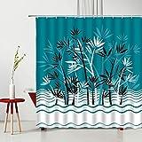 GermYan Cortina de Ducha de Loto de Agua de bambú Verde Flores Planta de Primavera Juego de decoración de baño Lavable de poliéster con Cortinas de bañera de Gancho
