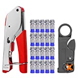 Coax Cable Crimper, Coaxial Compression Tool Kit Wire Stripper with F RG6 RG59...