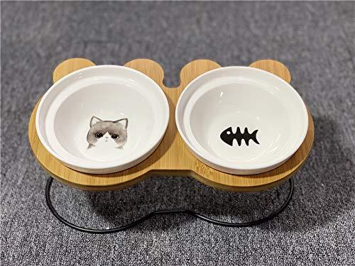 Cat bowl kat kom dubbele kom water kom ceramische schotel met een afdruiprek geneigd zijn om de cervicale bevel hond kom dubbele bowl (grijze kat en zwarte vis bot) te beschermen + afdruiprek