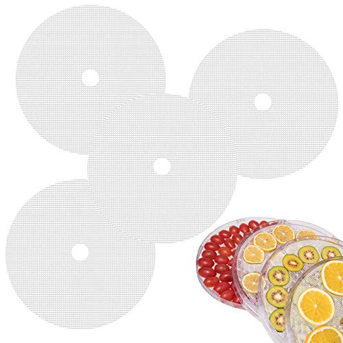 Tappetino Vapore Riutilizzabile Tappetino da Forno Antiaderente di Frutta Vassoio a Rete di Frutta per Alimenti Disidratatori in Silicone Asciugatrice per Frutta Fogli per Essiccatore 4 Pezzi, Bianco