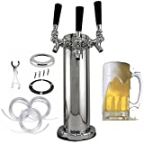 3 Tap Triple Faucet Stainless Steel Draft Beer Tower Homebrew For Kegerator 3' Diameter Column