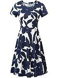 HUHOT Modest Dresses for Women Midi Dresses for Women Spring Dress for Women 2021 Easter Dress for Women Flowy Dress, Women Modest Simple Casual Midi Floral Dress(Print 1,X-Large)