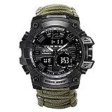 W.zz Outdoor Sport wasserdichte Herren-Uhr Multifunktionsfunktion LED-elektronische Uhr,Leuchtende...