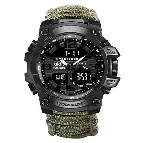 W.zz Outdoor Sport wasserdichte Herren-Uhr Multifunktionsfunktion LED-elektronische Uhr,Leuchtende Kompass Uhr im Freien Bergsteigen,Green
