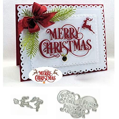 Merry Christmas Reindeer Metal Cutting Die Cuts, Merry Christmas Reindeer Stencils DIY Crafts Cards Cutting Dies Cuts for DIY Embossing Card Making Photo Decorative Paper Dies Scrapbooking