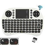 ゲーミングキーボード マウス ワイヤレス タッチパッド&USBレシーバー、英語キーボード/ロシア語キーボード(ホワイト)ミニワイヤレスキーボードUKB-500-RF 2.4GHzのミニワイヤレスキーボードマウスコンボ キーボード スマートリモコン (Color : White)