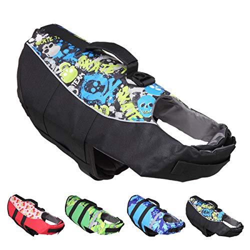 Huret Dog Life Jacket, Dogs Life Vests for Swimming, Puppy Float Coat Swimsuits Flotation Device Life Preserver Belt Lifesaver Flotation Suit for Pet Bulldog Lab with Reflective Strap, Black, M
