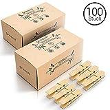 greenli 100 x Wäscheklammern aus Bambus- 6 cm - Die