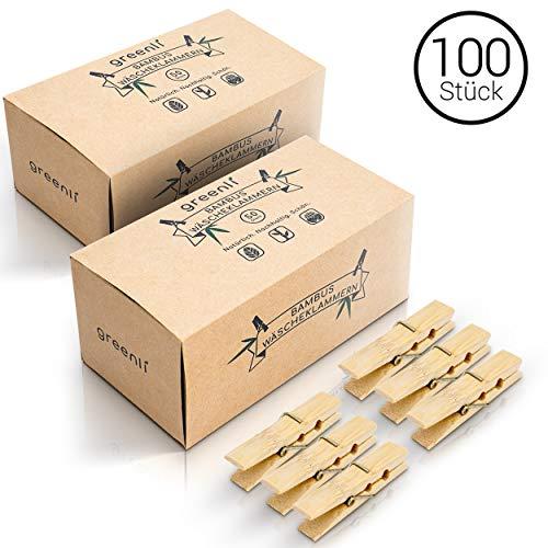 greenli 100 x Wäscheklammern aus Bambus- 6 cm - Die nachhaltige Alternative zu Holzklammern